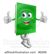 Vector Illustration of a Happy Green Book Mascot Holding Two Thumbs up by AtStockIllustration
