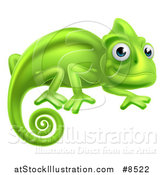 Vector Illustration of a Happy Green Chameleon Lizard by AtStockIllustration