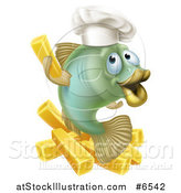 Vector Illustration of a Happy Green Chef Cod Fish Holding up a French Fry over Chips by AtStockIllustration
