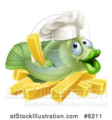 Vector Illustration of a Happy Green Cod Fish Chef Holding up a French Fry over Chips by AtStockIllustration