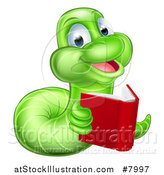 Vector Illustration of a Happy Green Earthworm Reading a Book by AtStockIllustration