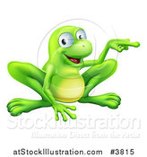 Vector Illustration of a Happy Green Frog Crouching and Pointing to the Side by AtStockIllustration