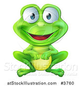 Vector Illustration of a Happy Green Frog Smiling by AtStockIllustration