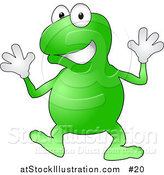 Vector Illustration of a Happy Green Frog Wearing Gloves Doing Jazz Hands While Dancing by AtStockIllustration