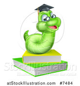 Vector Illustration of a Happy Green Professor or Graduate Earthworm on Books by AtStockIllustration