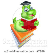 Vector Illustration of a Happy Green Professor or Graduate Earthworm Reading on Books by AtStockIllustration