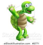 Vector Illustration of a Happy Green Tortoise Standing and Waving by AtStockIllustration