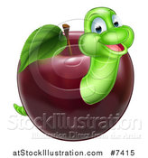 Vector Illustration of a Happy Green Worm Emerging from a Red Apple by AtStockIllustration