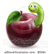 Vector Illustration of a Happy Green Worm in a Red Apple by AtStockIllustration