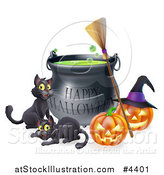 Vector Illustration of a Happy Halloween Cauldron with Black Cats a Broomstick and Jackolanterns by AtStockIllustration