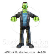 Vector Illustration of a Happy Halloween Frankenstein Walking with His Arms out by AtStockIllustration