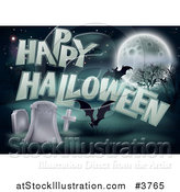 Vector Illustration of a Happy Halloween Greeting with Bats a Full Moon and Tombstones by AtStockIllustration