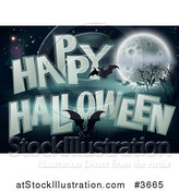 Vector Illustration of a Happy Halloween Greeting with Bats a Full Moon Bare Trees and Night Sky by AtStockIllustration