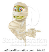 Vector Illustration of a Happy Halloween Mummy Looking Around and Pointing to a Sign by AtStockIllustration