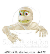 Vector Illustration of a Happy Halloween Mummy Pointing down at a Sign by AtStockIllustration