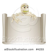 Vector Illustration of a Happy Halloween Mummy Pointing down to a Blank Scroll Sign by AtStockIllustration