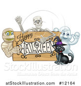 Vector Illustration of a Happy Halloween Sign with a Witch Cat, Ghost, Skeleton and Mummy by AtStockIllustration