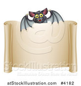 Vector Illustration of a Happy Halloween Vampire Bat over a Scroll Sign by AtStockIllustration