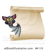 Vector Illustration of a Happy Halloween Vampire Bat Presenting a Scroll Sign by AtStockIllustration