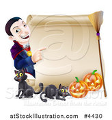 Vector Illustration of a Happy Halloween Vampire Pointing to a Scroll Sign with Black Cats Pumpkins and a Broomstick by AtStockIllustration