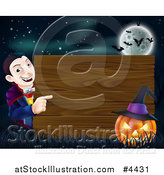 Vector Illustration of a Happy Halloween Vampire Pointing to a Wooden Sign with a Jackolantern Under a Full Moon with Bats by AtStockIllustration