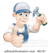 Vector Illustration of a Happy Handy Man Holding a Hammer and Thumb up by AtStockIllustration