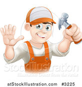 Vector Illustration of a Happy Handy Man Holding a Hammer and Waving by AtStockIllustration