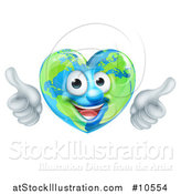 Vector Illustration of a Happy Heart Shaped Earth Globe Character Giving Two Thumbs up by AtStockIllustration