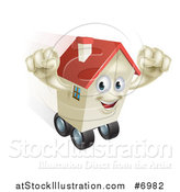 Vector Illustration of a Happy House Character Cheering and Moving While Rolling on Wheels by AtStockIllustration