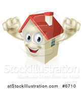 Vector Illustration of a Happy House Character Cheering by AtStockIllustration