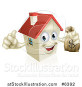 Vector Illustration of a Happy House Character Holding a Thumb up and a Dollar Money Bag by AtStockIllustration
