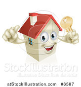Vector Illustration of a Happy House Character Holding a Thumb up and a Gold Key by AtStockIllustration