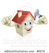 Vector Illustration of a Happy House Character Holding a Thumb up and a Hammer by AtStockIllustration