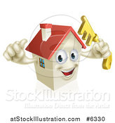 Vector Illustration of a Happy House Character Holding a Thumb up and a Key by AtStockIllustration