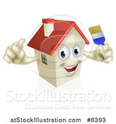 Vector Illustration of a Happy House Character Holding a Thumb up and a Paintbrush by AtStockIllustration