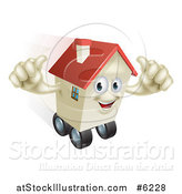 Vector Illustration of a Happy House Character Holding Two Thumbs up and Rolling on Wheels by AtStockIllustration