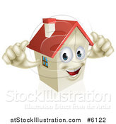 Vector Illustration of a Happy House Character Holding Two Thumbs up by AtStockIllustration