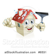 Vector Illustration of a Happy House Character with Bubbles, Holding a Thumb up and a Window Washing Squeegee by AtStockIllustration