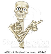Vector Illustration of a Happy Human Skeleton Pointing Around a Halloween Sign by AtStockIllustration