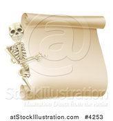 Vector Illustration of a Happy Human Skeleton Pointing to a Blank Scroll Sign by AtStockIllustration