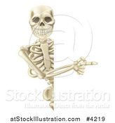 Vector Illustration of a Happy Human Skeleton Pointing to a Sign by AtStockIllustration