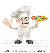 Vector Illustration of a Happy Italian Chef Waving and Holding up a Pizza Pie by AtStockIllustration