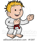 Vector Illustration of a Happy Karate Boy with Blond Hair, Wearing a Red Belt and White Uniform and Standing in a Pose by AtStockIllustration