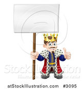 Vector Illustration of a Happy King Holding a Thumb up and a Sign by AtStockIllustration