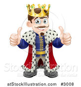Vector Illustration of a Happy King Holding Two Thumbs up by AtStockIllustration