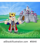 Vector Illustration of a Happy King Holding Two Thumbs up in Front of His Castle by AtStockIllustration