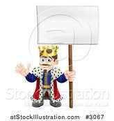 Vector Illustration of a Happy King Waving and Holding a Sign by AtStockIllustration