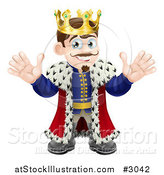 Vector Illustration of a Happy King Waving with Both Hands by AtStockIllustration