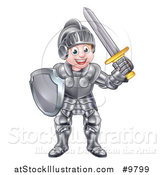 Vector Illustration of a Happy Knight Boy in Full Armour by AtStockIllustration