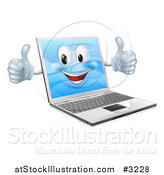 Vector Illustration of a Happy Laptop Mascot Holding Two Thumbs up by AtStockIllustration